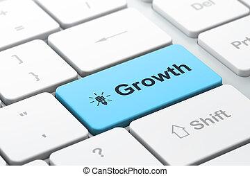 Concepto de financiación de negocios: teclado informático con icono de la energía de la lámpara y crecimiento de la palabra, enfoque seleccionado en botón de entrada, tercer guión