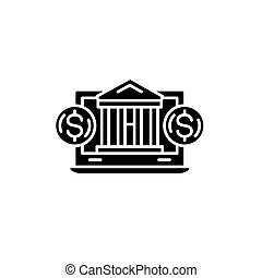 Concepto de icono negro en internet. Símbolo de vector de intercambio en línea, signo, ilustración.