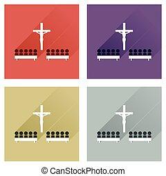 Concepto de iconos planos con gente de larga sombra en la iglesia