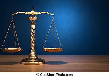 Concepto de justicia. Escalas de leyes en el fondo azul.