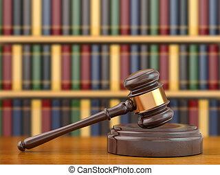 Concepto de justicia. Gavel y libros de leyes.