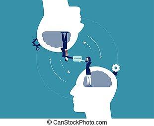 concepto de la corporación mercantil, communication., vector, illustration.