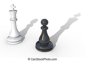 Concepto de liderazgo 3D ilustración aislada en blanco