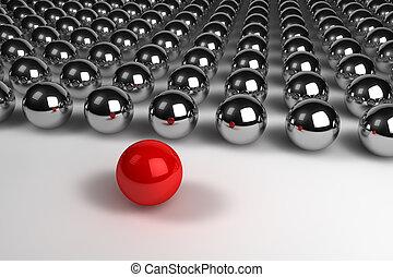 Concepto de liderazgo con esferas