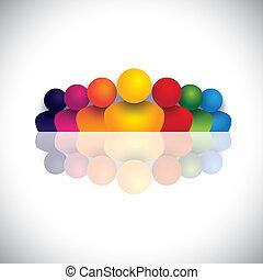 Concepto de liderazgo y liderazgo con iconos coloridos