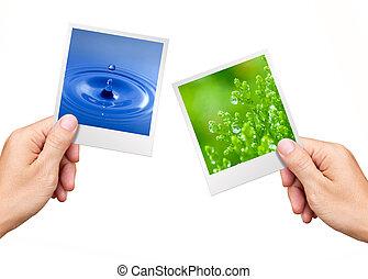 Concepto de Medio Ambiente, Manos sosteniendo fotos de la naturaleza agua y planta