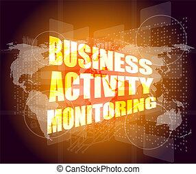 Concepto de negocios, actividad de negocios monitorizando interfaz digital de pantalla táctil