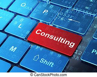 Concepto de negocios: consultar a fondo de teclado