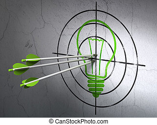 Concepto de negocios de éxito: flechas golpeando el centro de Green Light Bulb blanco en el fondo de la pared, 3D