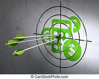 Concepto de negocios de éxito: flechas golpeando el centro del blanco Calculador Verde en el fondo de la pared, versión 3D