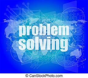 Concepto de negocios: resolver problemas de palabras en pantalla digital