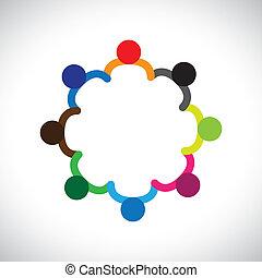 Concepto de niños jugando, trabajo en equipo y diversidad. El gráfico contiene niños que se toman de la mano y forman un círculo. Esto también puede representar el concepto de equipo corporativo y trabajo en equipo y también la diversidad de las personas
