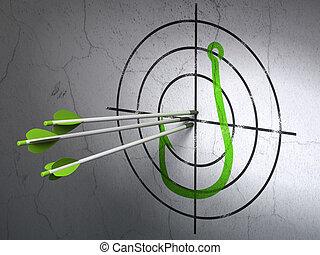 Concepto de seguridad: flechas que golpean el centro de Green Fishing Hook objetivo en el fondo de la pared, 3d