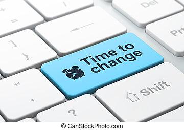 """Concepto de tiempo: teclado computarizado con icono de despertador y palabra """"Tiempo para cambiar"""", enfoque seleccionado en botón de entrada, tercer guión"""