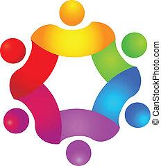 concepto de trabajo en equipo en el logo de 6 colores