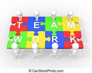 Concepto de trabajo en equipo, liderazgo, cooperación...