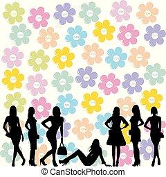 Concepto de venta con mujeres de la moda siluetas negras