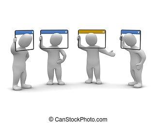Concepto de videoconferencia por Internet. 3d ilustrado.