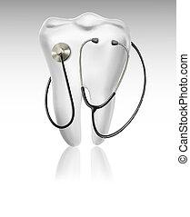 concepto, diagnostics., médico, diente, vector, plano de fondo, stethoscope.