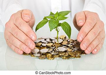 concepto, dinero, bueno, elaboración, proteger, inversión