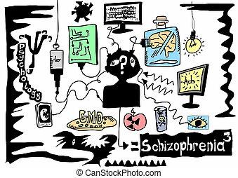 Concepto Doodle esquizofrenia
