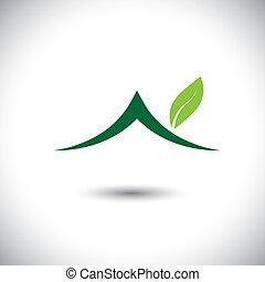 concepto, eco, casa, hojas, -, vector, verde, icono