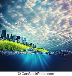 concepto, eco, fondos, ambiental, diseño, su