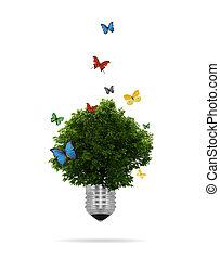 Concepto económico: bombilla con árbol creciendo dentro