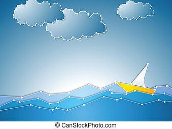 Concepto el fondo esquemático del mar