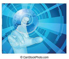 concepto, el seleccionar, globo, mano, plano de fondo, mundo