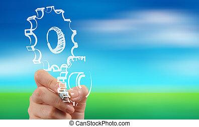 concepto, empates, engranaje, éxito, mano, hombre de negocios