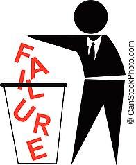 concepto, empresa / negocio, éxito, tirar, fracaso