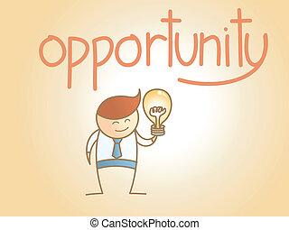 concepto, empresa / negocio, carácter, idea, nuevo, oportunidad, caricatura, hombre
