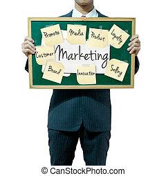 concepto, empresa / negocio, mercadotecnia, plano de fondo, tabla, tenencia, hombre