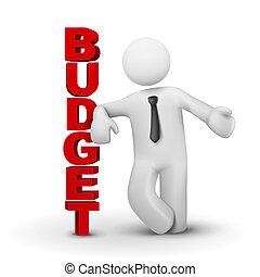 concepto, empresa / negocio, presupuesto, presentación, hombre, 3d