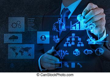 concepto, empresa / negocio, trabajando, moderno, mano, computadora, hombre de negocios, nuevo, estrategia