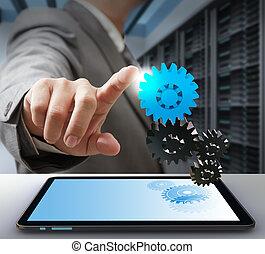 concepto, engranaje, empresa / negocio, solución, computadora, tacto, hombre