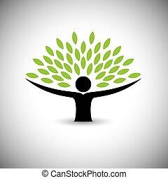 concepto, estilo de vida, gente, eco, -, naturaleza, árbol, vector., se abrazar, o