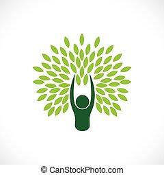 concepto, estilo de vida, naturaleza, eco, árbol, -, una persona, vector.