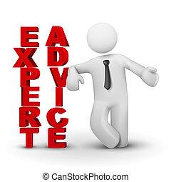 concepto, experto, empresa / negocio, presentación, advicet, hombre, 3d