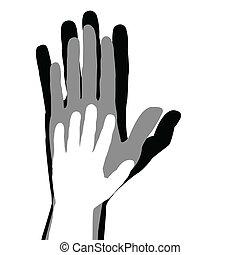 concepto, familia , manos, padre, niño, madre