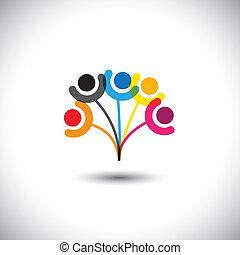 concepto, familia , y, actuación, árbol, vinculación, vector, relationship.