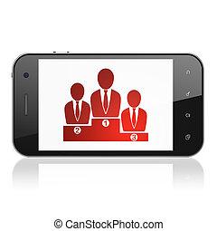 Concepto financiero: Equipo de negocios en smartphone