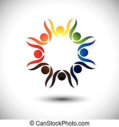 concepto, gente, celebrar, animado, niños, también, fiesta, círculo, excitado, bailando, colorido, friendship., juego, niños, amigos, representa, escuela, gráfico, gente, empleados, vector, o