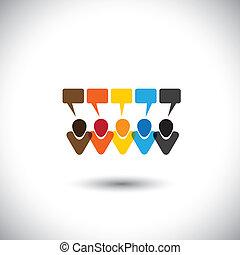 concepto, gente, comunidad, comunicación, interacción, charla, tela, establecimiento de una red, y, medios, -, comments, también, vector., en línea, charlas, internet, representa, gráfico, esto, iconos, conversación, social, o