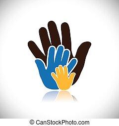 concepto, gente, graphic., humano, consiste, cierre, relación, y, amor, family-, colorido, paternal, actuación, ilustración, mano, vinculación, padre, manos, niño, esto, vector, madre, icons(signs)