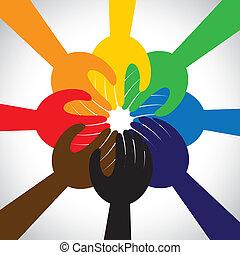 concepto, gente, trabajo en equipo, voto, promesa, grupo, -, también, círculo, unidad, manos, solidaridad, representa, promesa, gráfico, esto, toma, compromiso, vector, icon., amistad, o
