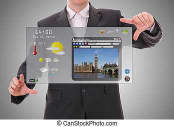 concepto, gráfico mundo, hecho, usuario, digital, interfaz, hombre de negocios, presentación, futurista