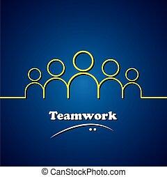 concepto, gráfico, y, equipo, trabajo en equipo, vector, liderazgo, líder