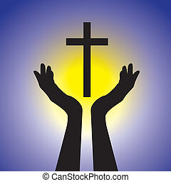 concepto, graphic., amarillo, jesús, azul, cristo, sol, tenencia, señor, el adorarse, cristiano, santo, actuación, ilustración, cross-, devoto, plano de fondo, fiel, fe, esto, persona, vector